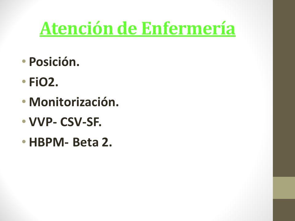 Atención de Enfermería Posición. FiO2. Monitorización. VVP- CSV-SF. HBPM- Beta 2.