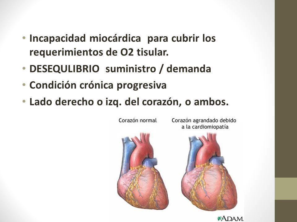 Incapacidad miocárdica para cubrir los requerimientos de O2 tisular.