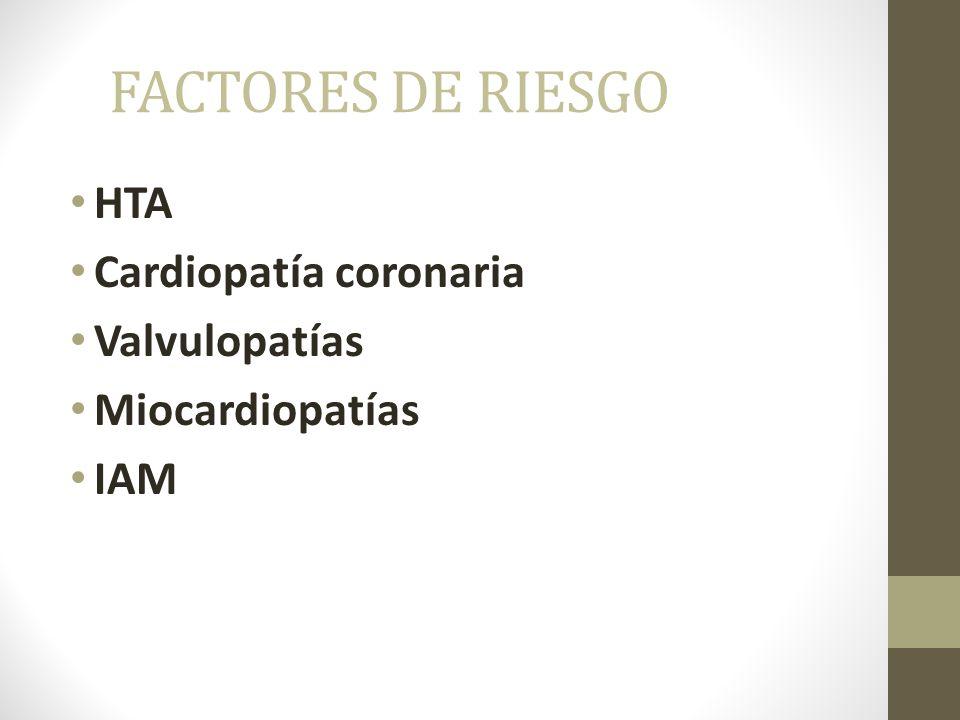 FACTORES DE RIESGO HTA Cardiopatía coronaria Valvulopatías Miocardiopatías IAM