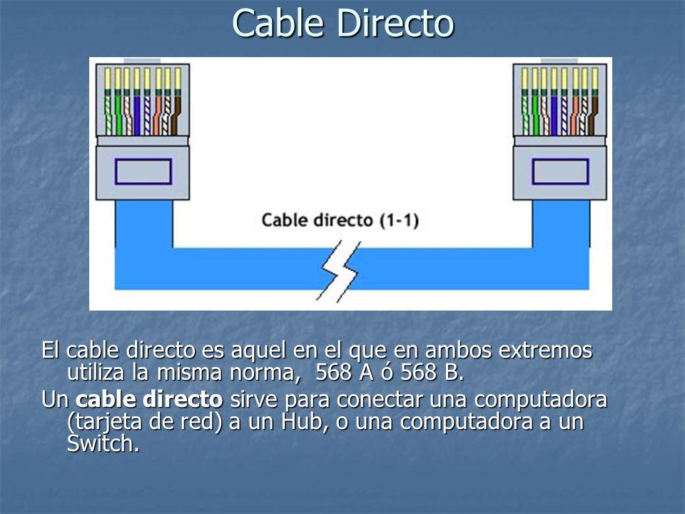 Cable Directo El cable directo es aquel en el que en ambos extremos utiliza la misma norma,568 A ó 568 B. Un cable directo sirve para conectar una com
