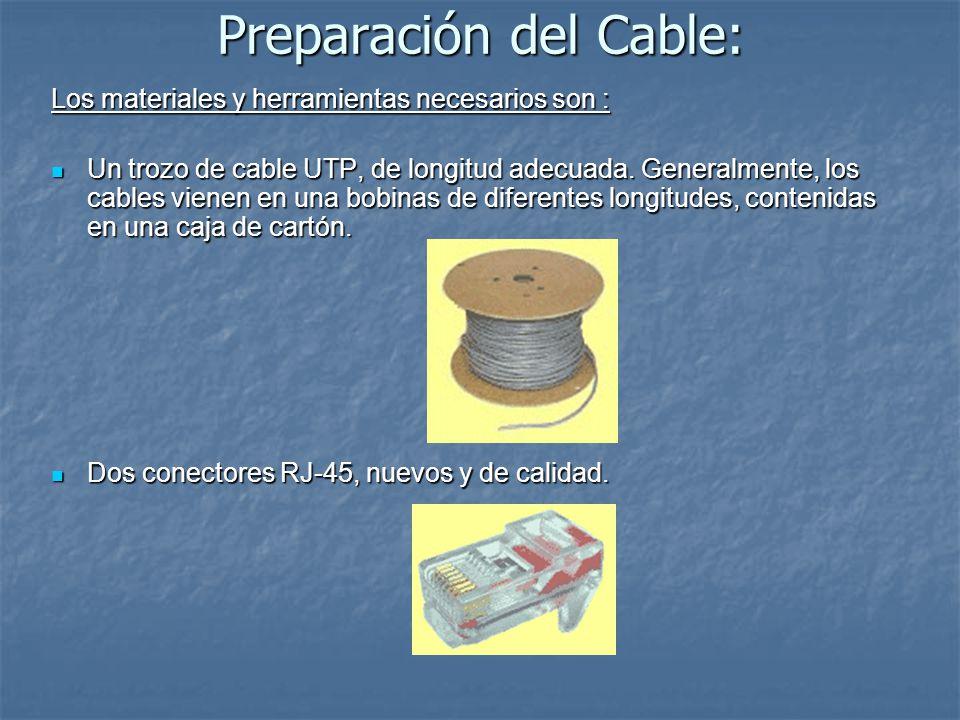 Preparación del Cable: Los materiales y herramientas necesarios son : Un trozo de cable UTP, de longitud adecuada. Generalmente, los cables vienen en