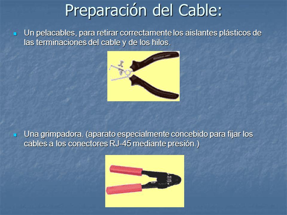 Preparación del Cable: Un pelacables, para retirar correctamente los aislantes plásticos de las terminaciones del cable y de los hilos. Un pelacables,