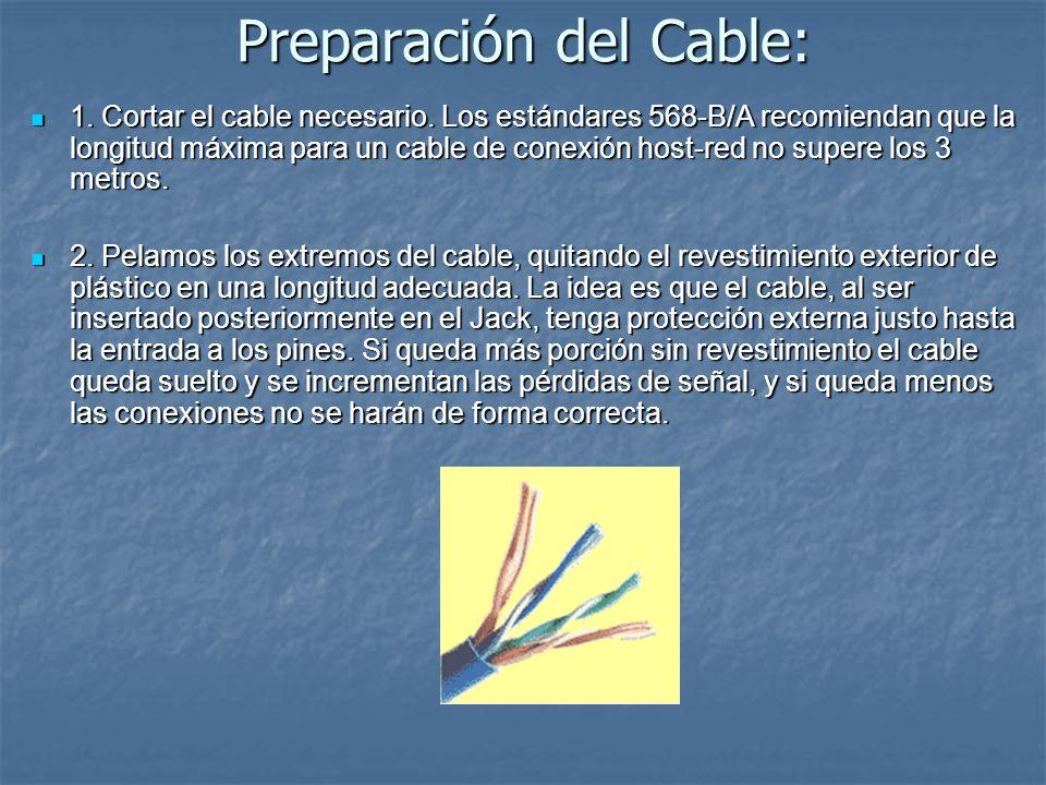 Preparación del Cable: 1. Cortar el cable necesario. Los estándares 568-B/A recomiendan que la longitud máxima para un cable de conexión host-red no s