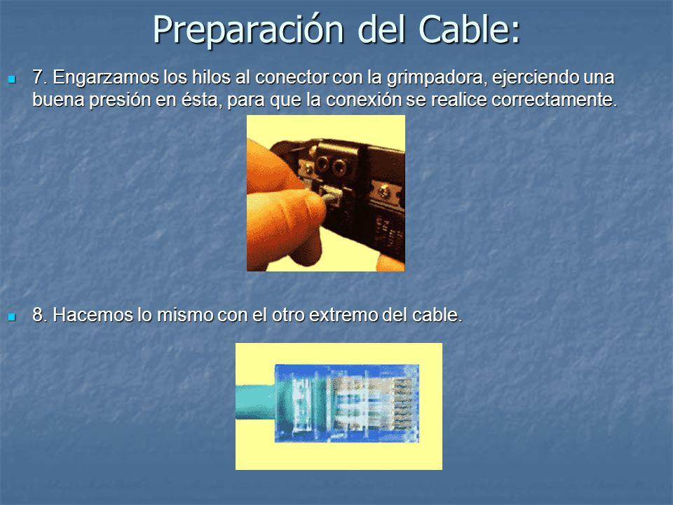 Preparación del Cable: 7. Engarzamos los hilos al conector con la grimpadora, ejerciendo una buena presión en ésta, para que la conexión se realice co
