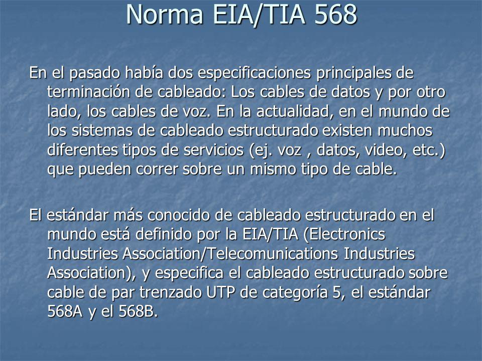 Norma EIA/TIA 568 En el pasado había dos especificaciones principales de terminación de cableado: Los cables de datos y por otro lado, los cables de v