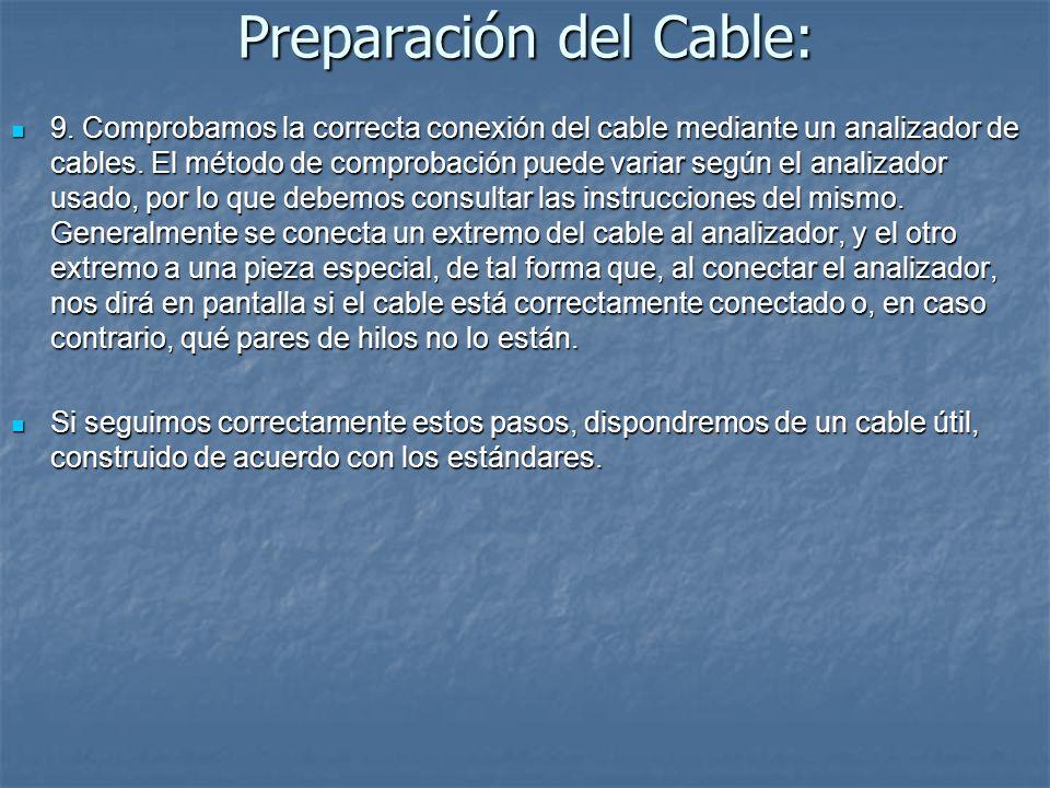 Preparación del Cable: 9. Comprobamos la correcta conexión del cable mediante un analizador de cables. El método de comprobación puede variar según el