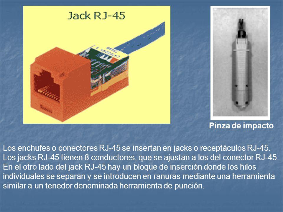 Los enchufes o conectores RJ-45 se insertan en jacks o receptáculos RJ-45. Los jacks RJ-45 tienen 8 conductores, que se ajustan a los del conector RJ-