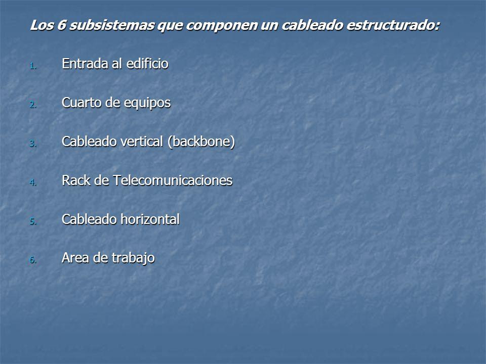 Los 6 subsistemas que componen un cableado estructurado: 1. Entrada al edificio 2. Cuarto de equipos 3. Cableado vertical (backbone) 4. Rack de Teleco