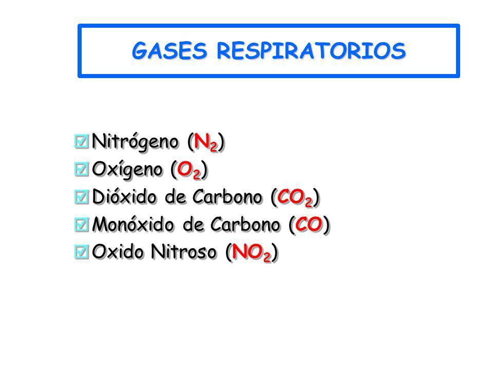 GASES RESPIRATORIOS Nitrógeno (N 2 ) Nitrógeno (N 2 ) Oxígeno (O 2 ) Oxígeno (O 2 ) Dióxido de Carbono (CO 2 ) Dióxido de Carbono (CO 2 ) Monóxido de
