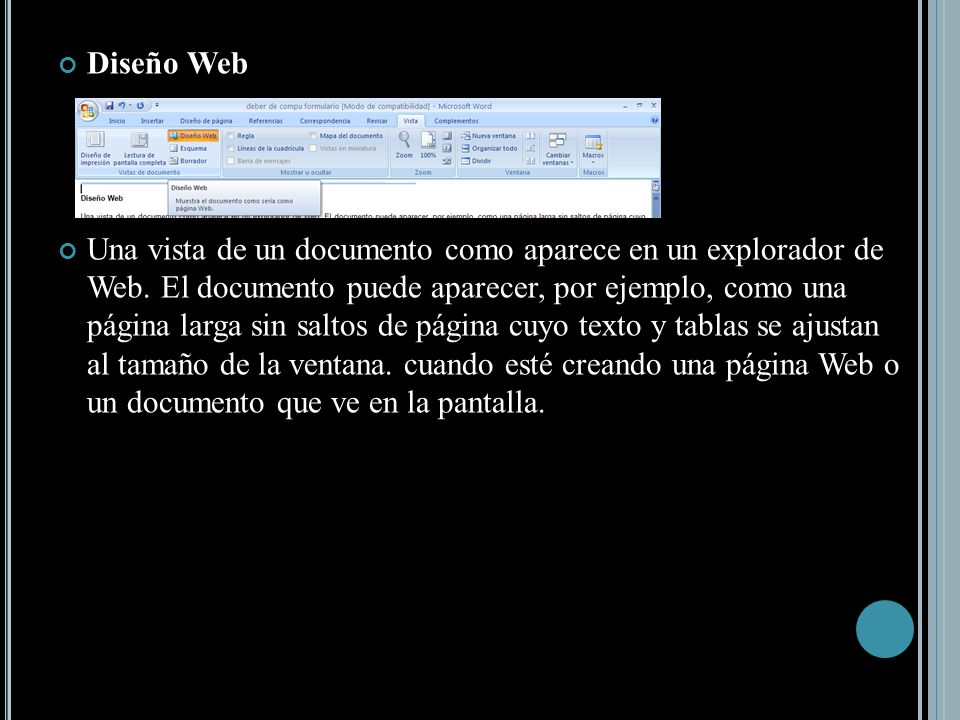 Diseño Web Una vista de un documento como aparece en un explorador de Web.