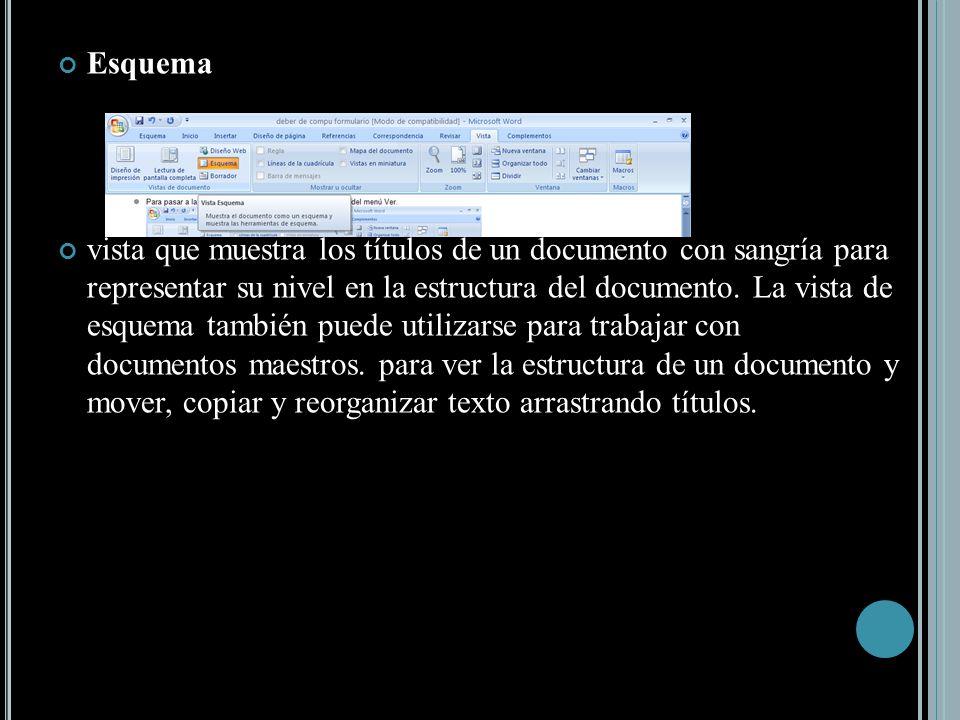 Esquema vista que muestra los títulos de un documento con sangría para representar su nivel en la estructura del documento.