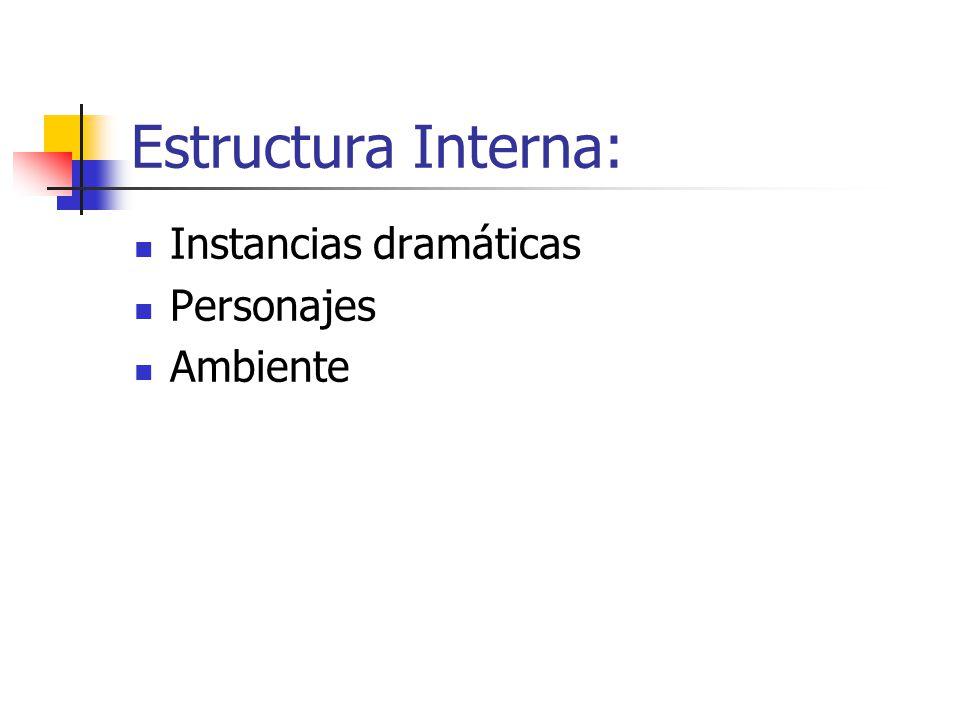 Instancias Dramáticas: Acción Dramática: CONFLICTO fuerzas en pugna (protagonista y antagonista) Etapas: Presentación Nudo Clímax Desenlace