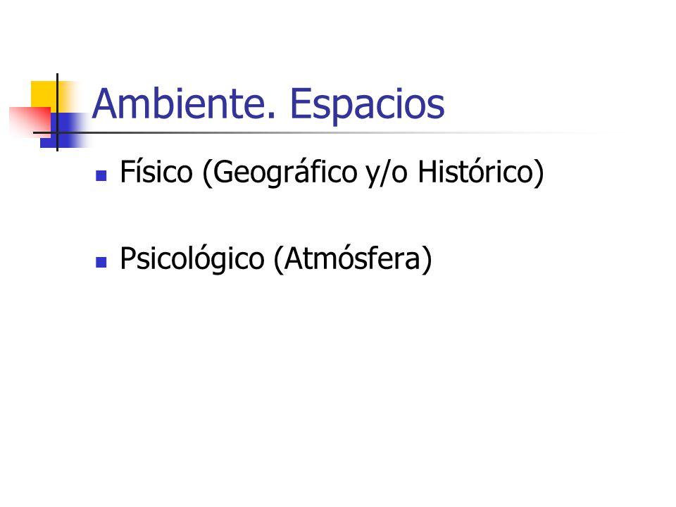 Ambiente. Tiempo Alusiones (huellas) Progresiones (Cronología o anacronía) Tipos (clima, época...)