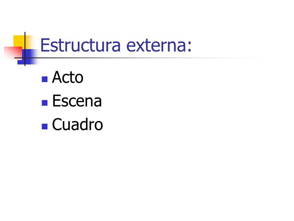Estructura Externa ACTO: Unidad mayor, de más duración e importancia en la que se divide la obra.