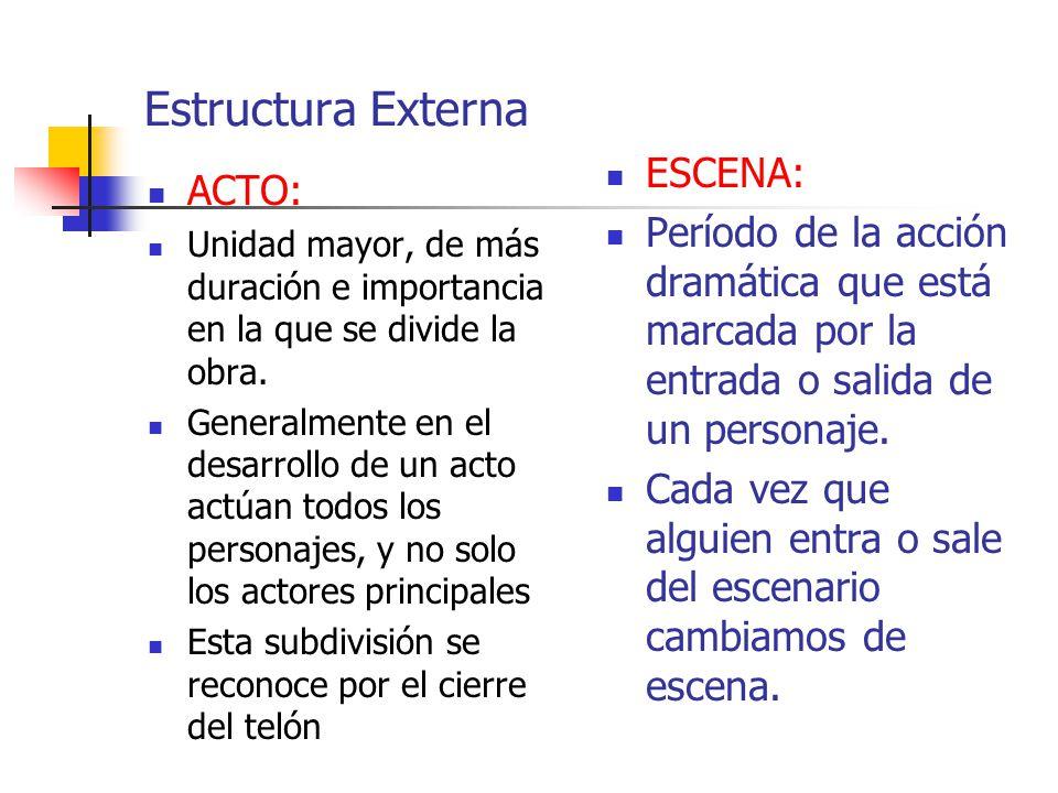 ESTRUCTURA EXTERNA Cuadro: Es la ambientación física de la acción dramática dada por la escenografía.