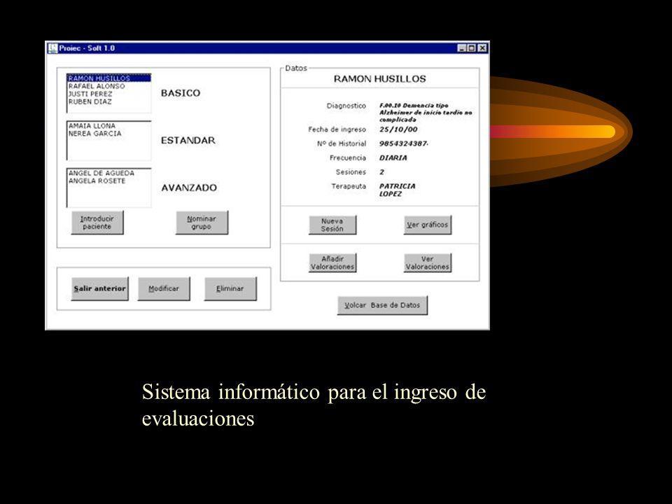 Sistema informático para el ingreso de evaluaciones