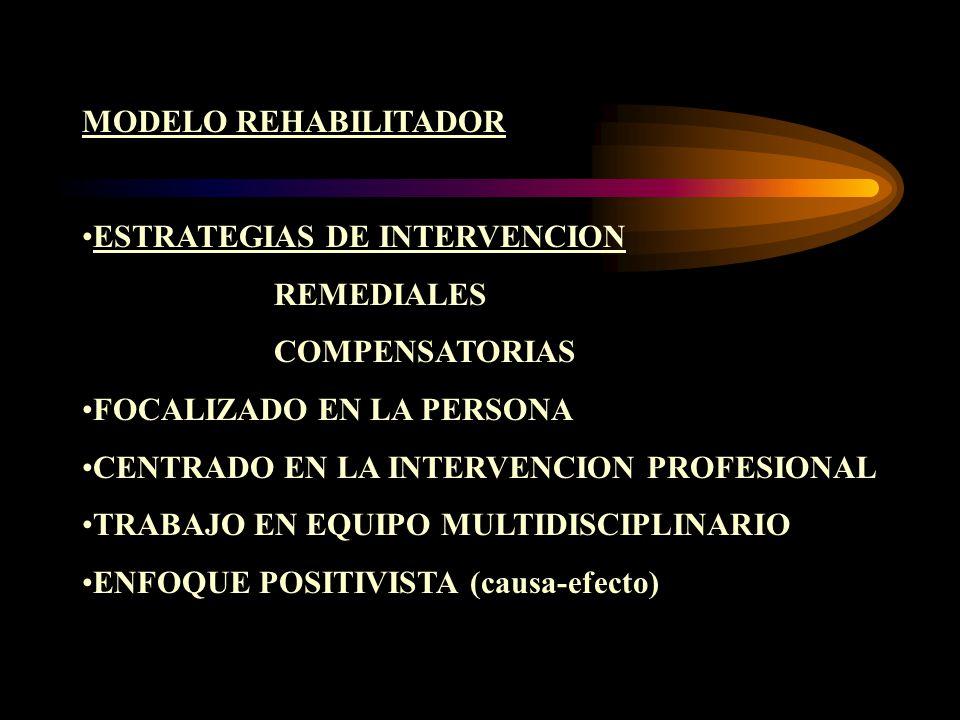 MODELO REHABILITADOR ESTRATEGIAS DE INTERVENCIONESTRATEGIAS DE INTERVENCION REMEDIALES COMPENSATORIAS FOCALIZADO EN LA PERSONA CENTRADO EN LA INTERVEN