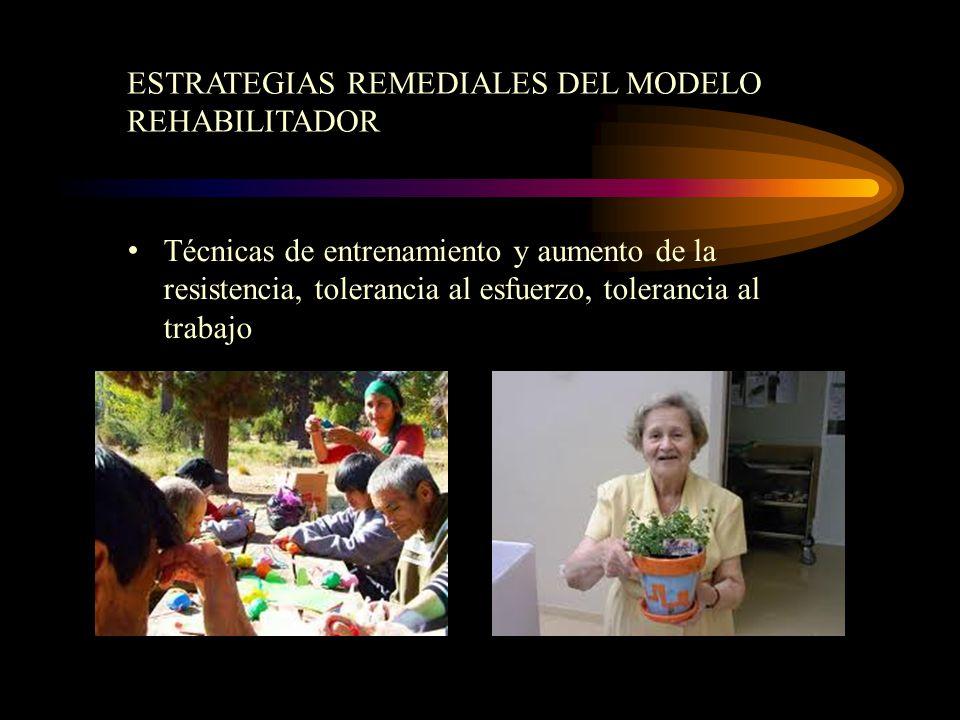 Técnicas de entrenamiento y aumento de la resistencia, tolerancia al esfuerzo, tolerancia al trabajo ESTRATEGIAS REMEDIALES DEL MODELO REHABILITADOR