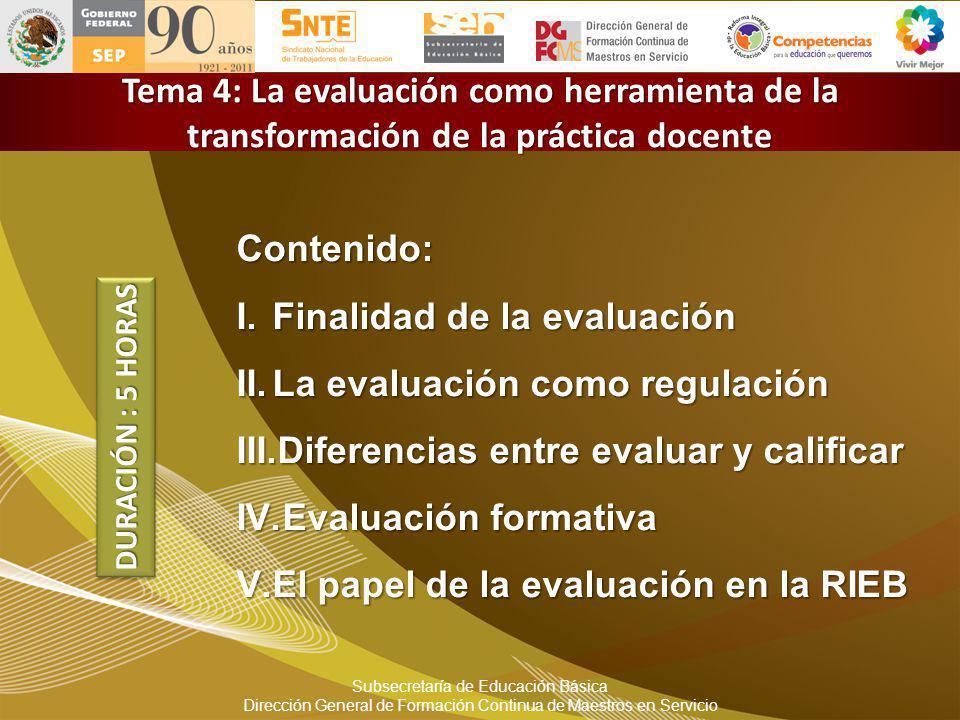 Subsecretaría de Educación Básica Dirección General de Formación Continua de Maestros en Servicio Tema 4: La evaluación como herramienta de la transfo