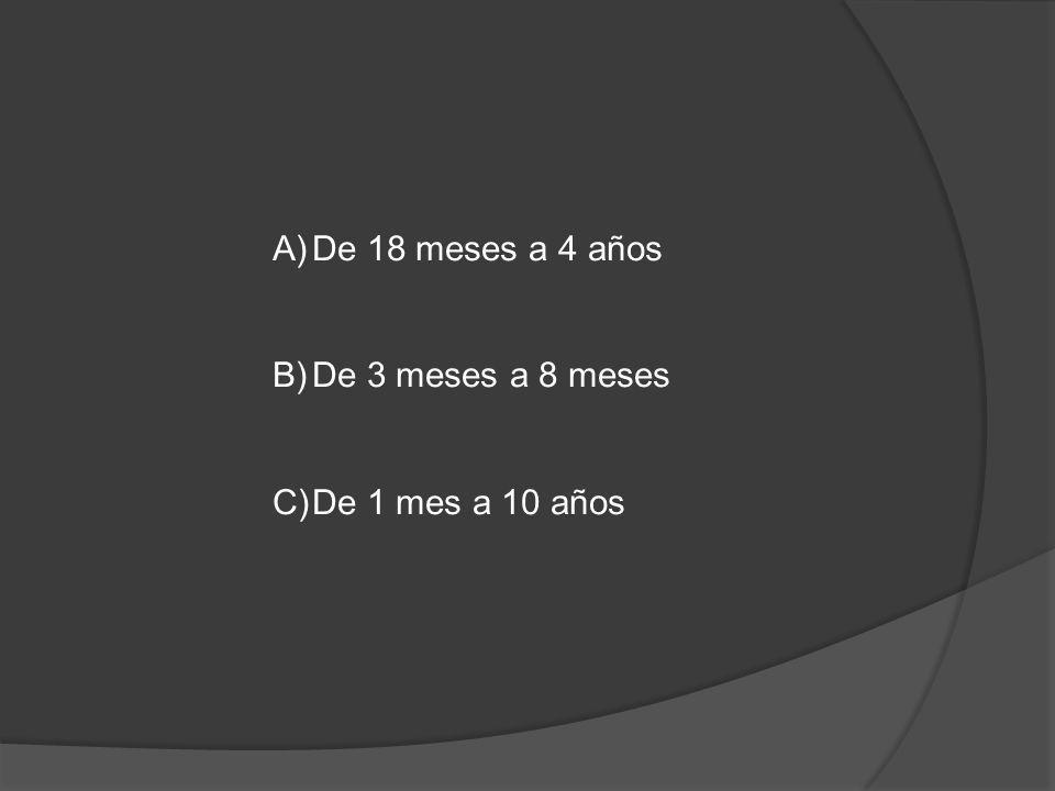 A)De 18 meses a 4 años B)De 3 meses a 8 meses C)De 1 mes a 10 años