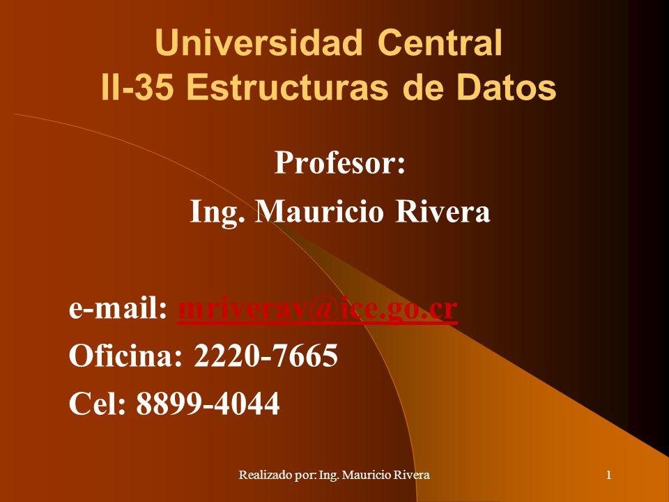 Realizado por: Ing. Mauricio Rivera1 Universidad Central II-35 Estructuras de Datos Profesor: Ing. Mauricio Rivera e-mail: mriverav@ice.go.crmriverav@