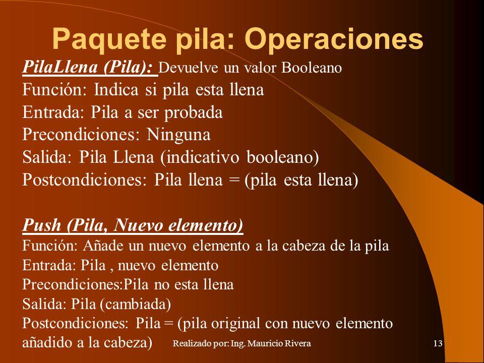 Realizado por: Ing. Mauricio Rivera13 Paquete pila: Operaciones PilaLlena (Pila): Devuelve un valor Booleano Función: Indica si pila esta llena Entrad