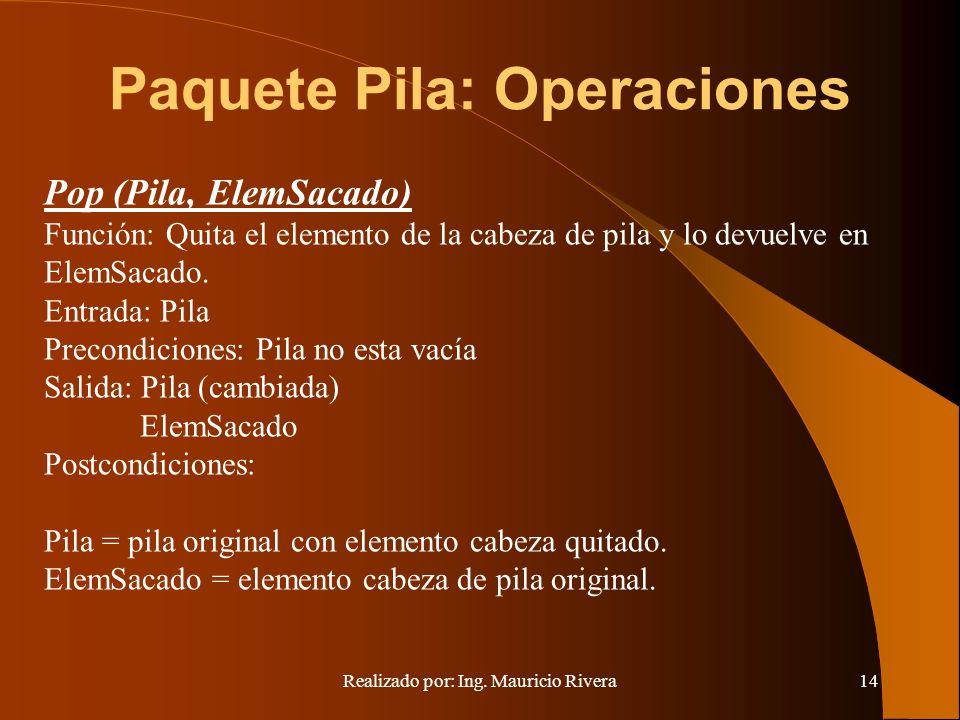 Realizado por: Ing. Mauricio Rivera14 Paquete Pila: Operaciones Pop (Pila, ElemSacado) Función: Quita el elemento de la cabeza de pila y lo devuelve e
