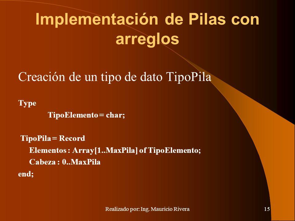 Realizado por: Ing. Mauricio Rivera15 Implementación de Pilas con arreglos Creación de un tipo de dato TipoPila Type TipoElemento = char; TipoPila = R