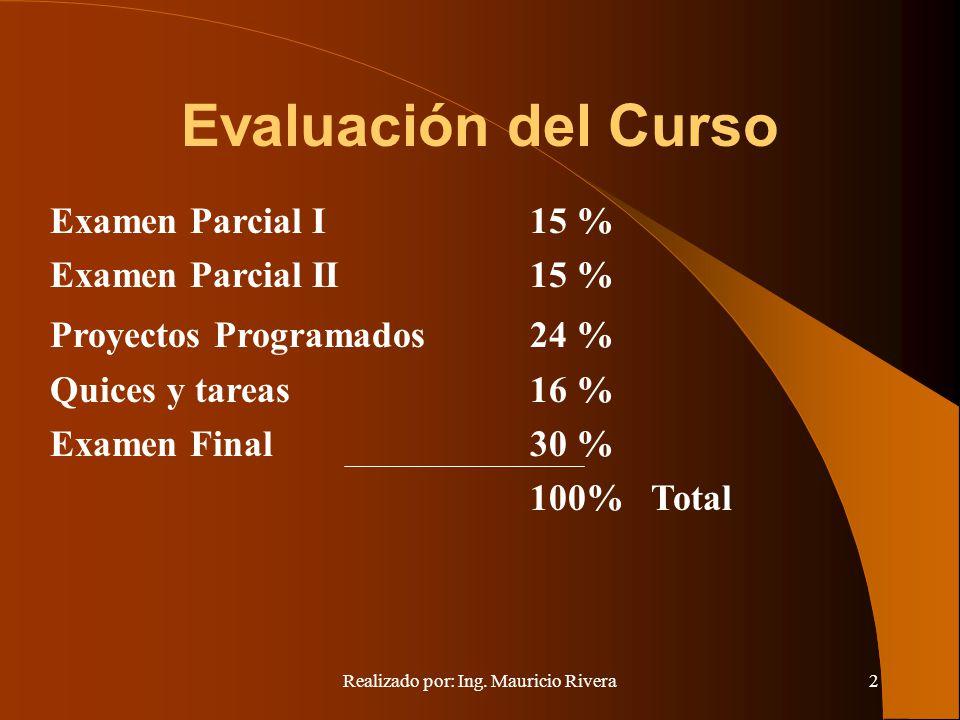 Realizado por: Ing. Mauricio Rivera2 Evaluación del Curso Examen Parcial I 15 % Examen Parcial II 15 % Proyectos Programados24 % Quices y tareas16 % E