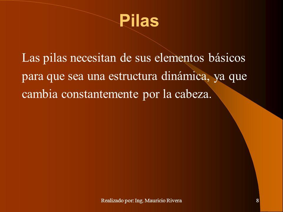 Realizado por: Ing. Mauricio Rivera8 Pilas Las pilas necesitan de sus elementos básicos para que sea una estructura dinámica, ya que cambia constantem