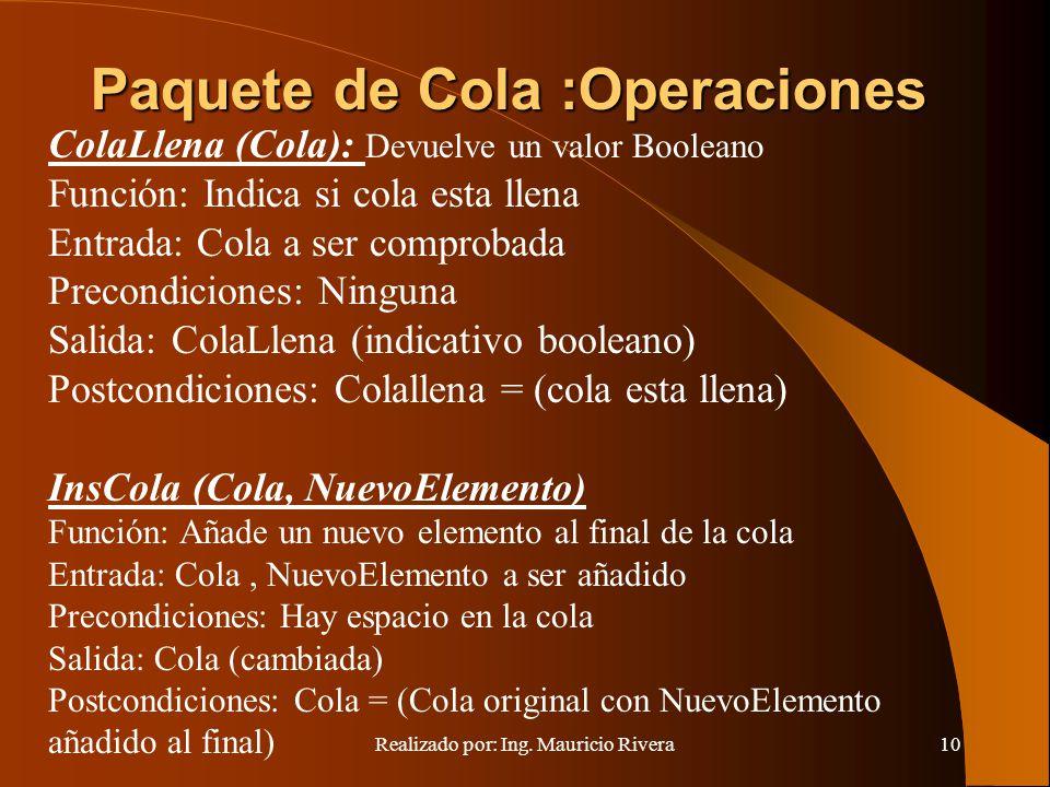 Realizado por: Ing. Mauricio Rivera10 ColaLlena (Cola): Devuelve un valor Booleano Función: Indica si cola esta llena Entrada: Cola a ser comprobada P