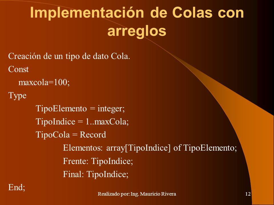 Realizado por: Ing. Mauricio Rivera12 Implementación de Colas con arreglos Creación de un tipo de dato Cola. Const maxcola=100; Type TipoElemento = in