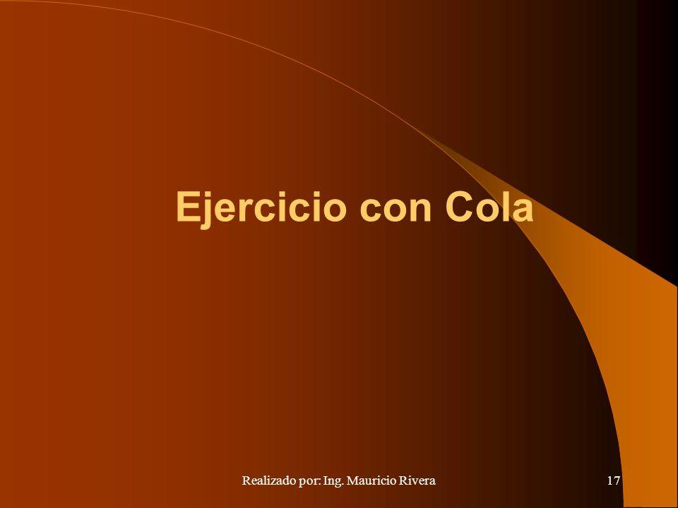 Realizado por: Ing. Mauricio Rivera17 Ejercicio con Cola