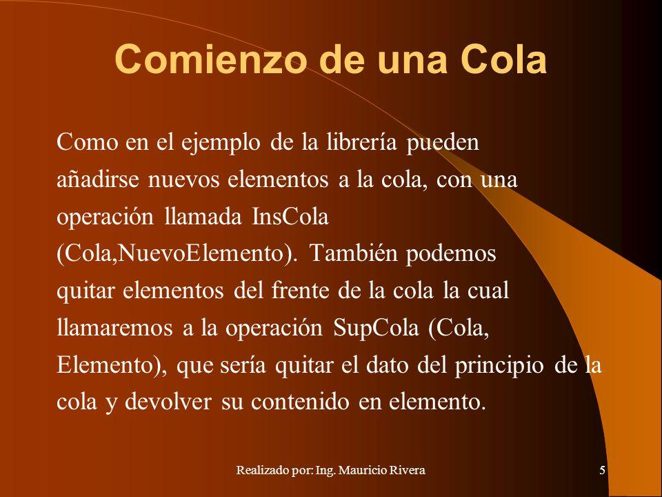 Realizado por: Ing. Mauricio Rivera5 Comienzo de una Cola Como en el ejemplo de la librería pueden añadirse nuevos elementos a la cola, con una operac