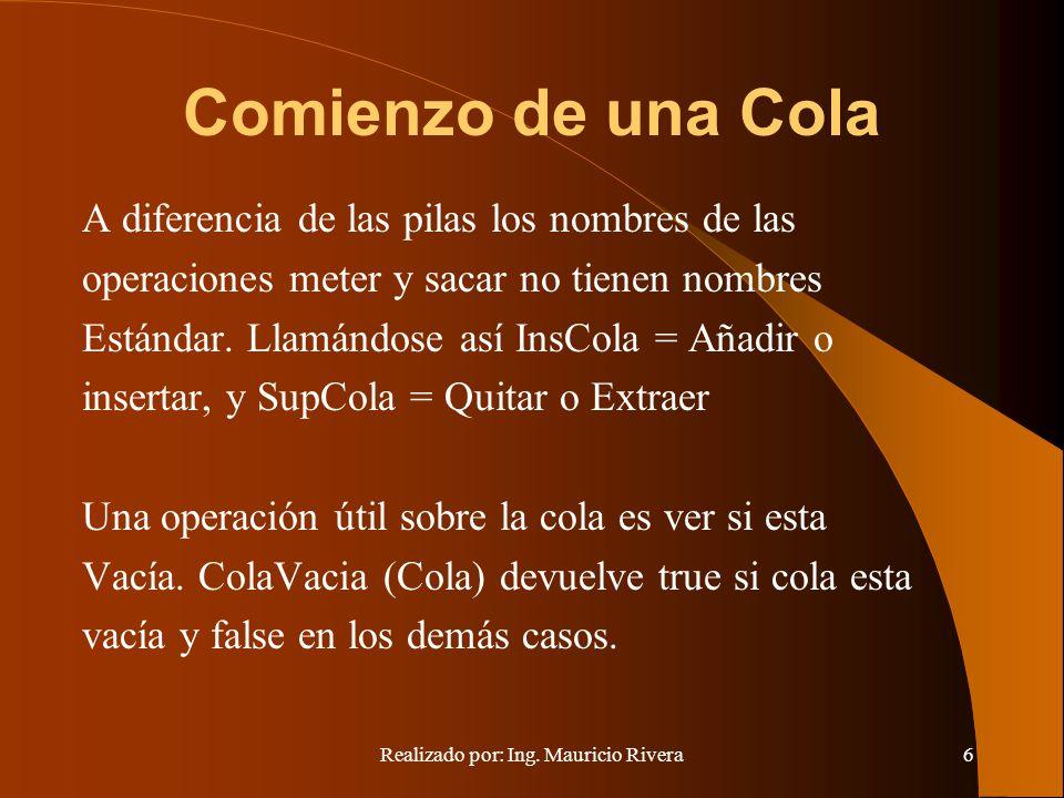 Realizado por: Ing. Mauricio Rivera6 Comienzo de una Cola A diferencia de las pilas los nombres de las operaciones meter y sacar no tienen nombres Est