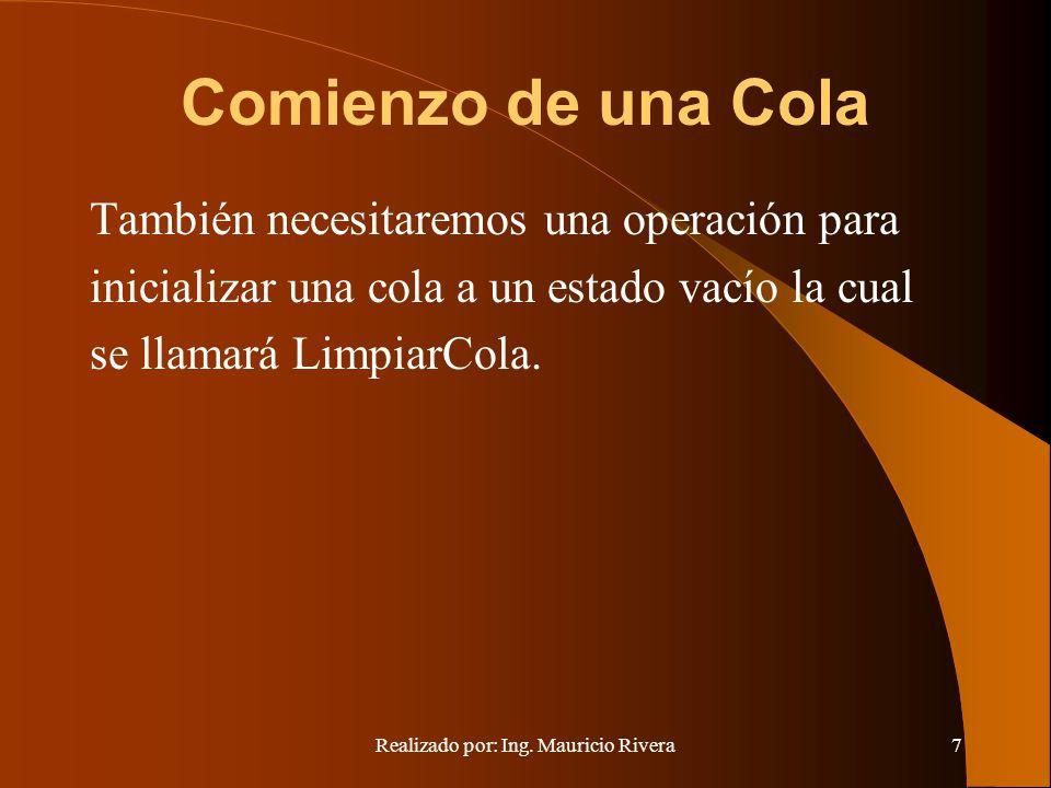 Realizado por: Ing. Mauricio Rivera7 Comienzo de una Cola También necesitaremos una operación para inicializar una cola a un estado vacío la cual se l