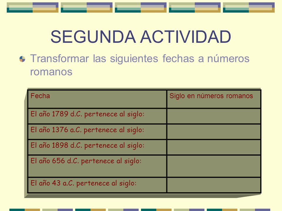 SEGUNDA ACTIVIDAD Transformar las siguientes fechas a números romanos FechaSiglo en números romanos El año 1789 d.C.
