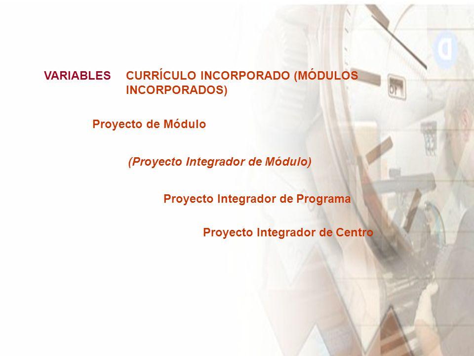 VARIABLESCURRÍCULO INCORPORADO (MÓDULOS INCORPORADOS) Proyecto Integrador de Programa (Proyecto Integrador de Módulo) Proyecto de Módulo Proyecto Integrador de Centro