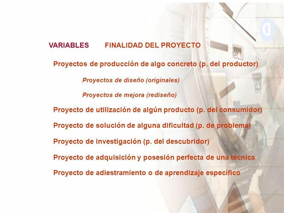 VARIABLESFINALIDAD DEL PROYECTO Proyectos de producción de algo concreto (p.