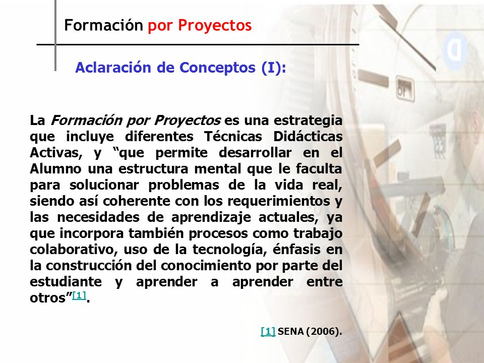 Formación por Proyectos Aclaración de Conceptos (II): El Método de Proyectos, desarrollado principalmente en sus inicios por Kilpatrick, es una metodología que va desde la identificación de un problema hasta la solución del mismo, pasando por etapas que incluyen la búsqueda de información, el diseño y elaboración de prototipos, ensayos, construcción, comunicación…