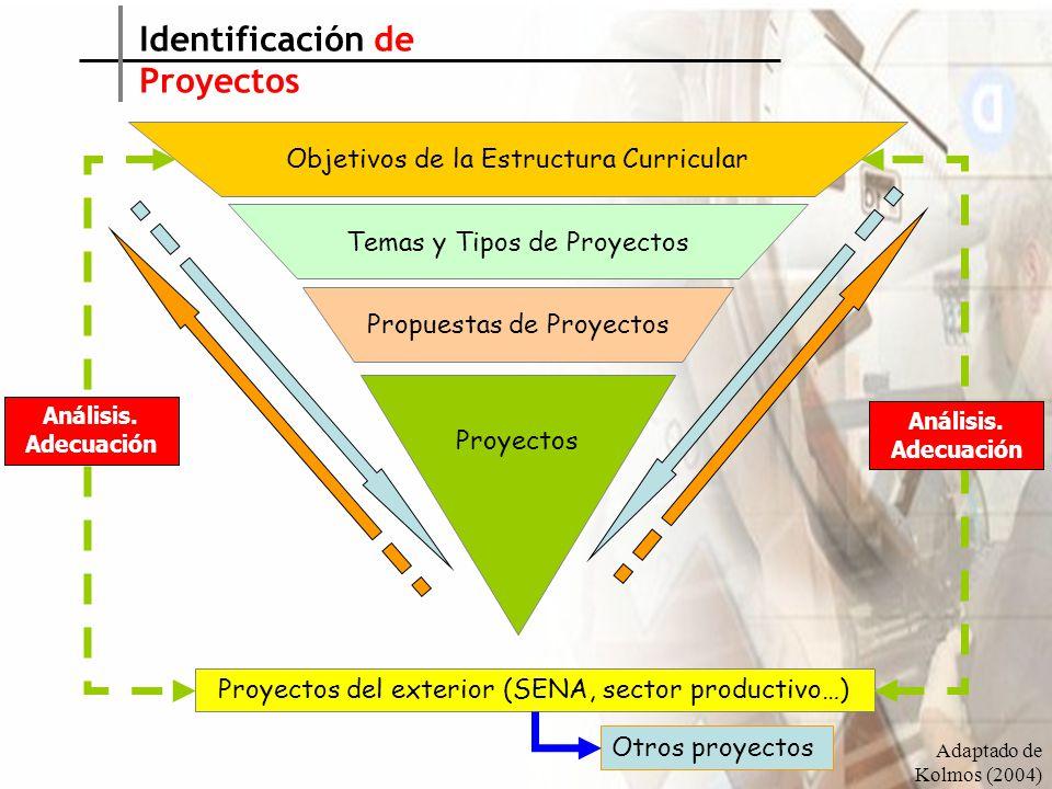 Objetivos de la Estructura Curricular Temas y Tipos de Proyectos Propuestas de Proyectos Proyectos Proyectos del exterior (SENA, sector productivo…) Otros proyectos Identificación de Proyectos Análisis.