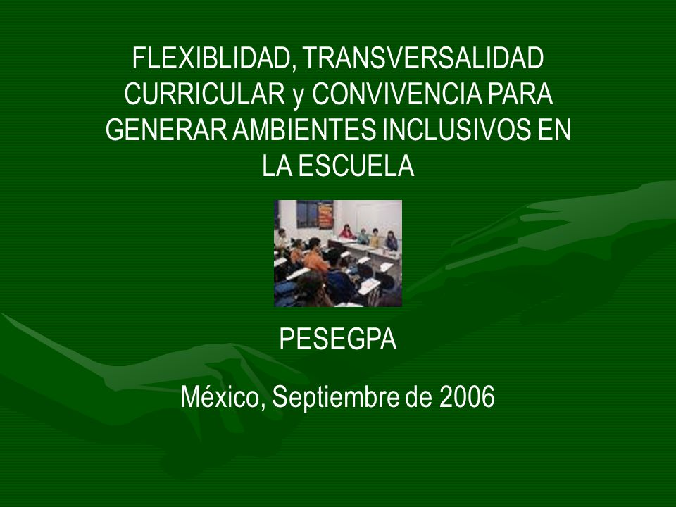 FLEXIBLIDAD, TRANSVERSALIDAD CURRICULAR y CONVIVENCIA PARA GENERAR AMBIENTES INCLUSIVOS EN LA ESCUELA PESEGPA México, Septiembre de 2006