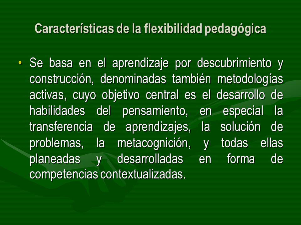 Características de la flexibilidad pedagógica Se basa en el aprendizaje por descubrimiento y construcción, denominadas también metodologías activas, c