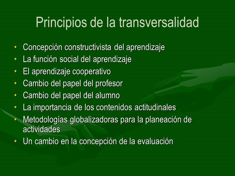 Principios de la transversalidad Concepción constructivista del aprendizajeConcepción constructivista del aprendizaje La función social del aprendizaj