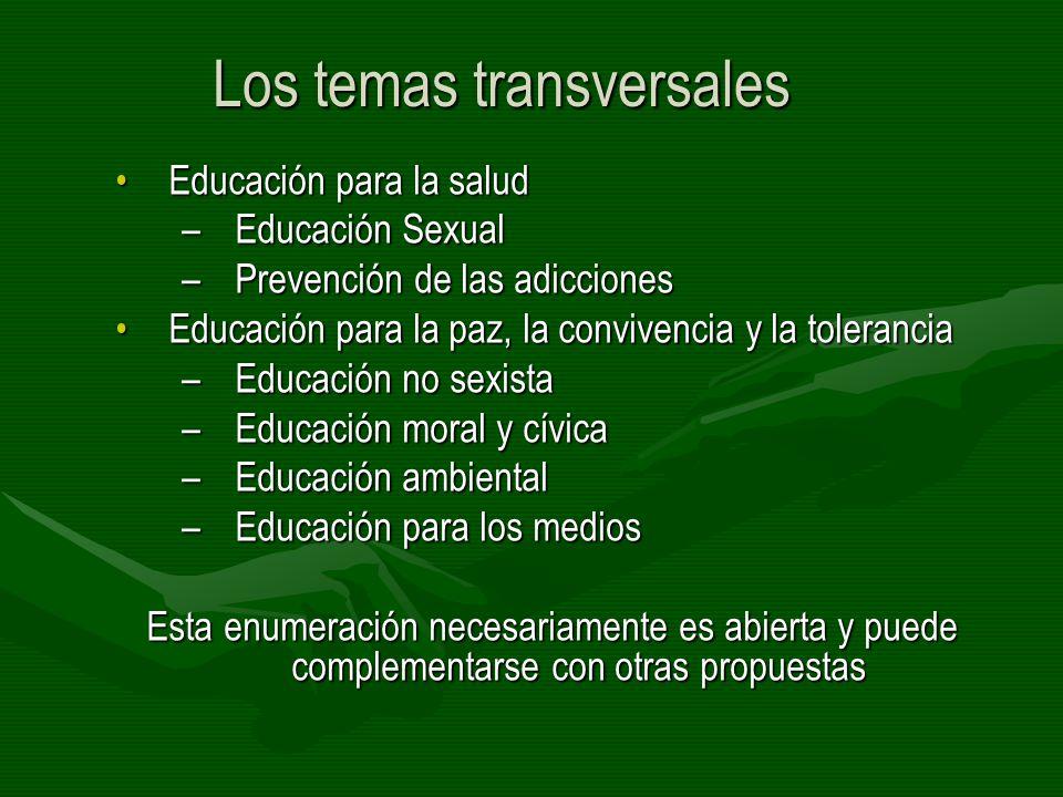 Los temas transversales Educación para la saludEducación para la salud –Educación Sexual –Prevención de las adicciones Educación para la paz, la convi