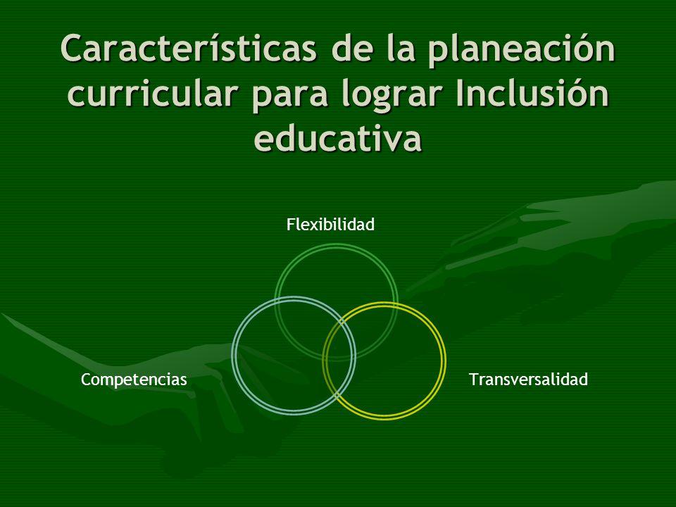Cualidades del currículo FLEXIBILIDAD y TRANSVERSALIDAD Se identifican los estilos de aprendizaje Se reconocen necesidades Subjetivas y de la comunidad Inclusión de la Diversidad