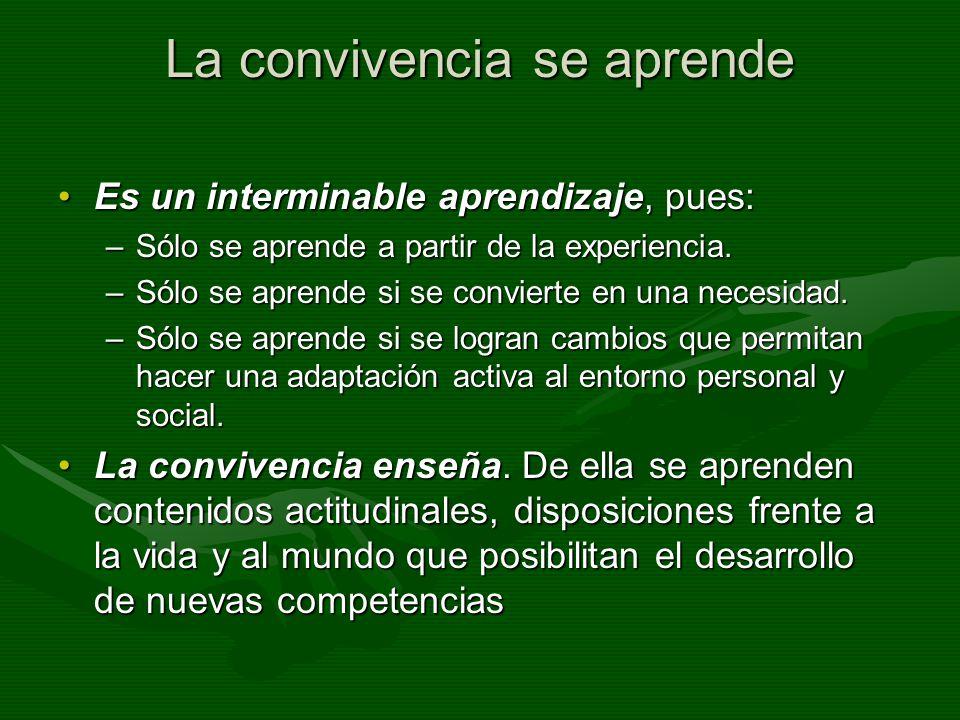 La convivencia se aprende Es un interminable aprendizaje, pues:Es un interminable aprendizaje, pues: –Sólo se aprende a partir de la experiencia. –Sól