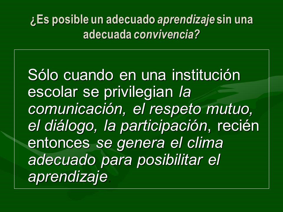 ¿Es posible un adecuado aprendizaje sin una adecuada convivencia? Sólo cuando en una institución escolar se privilegian la comunicación, el respeto mu