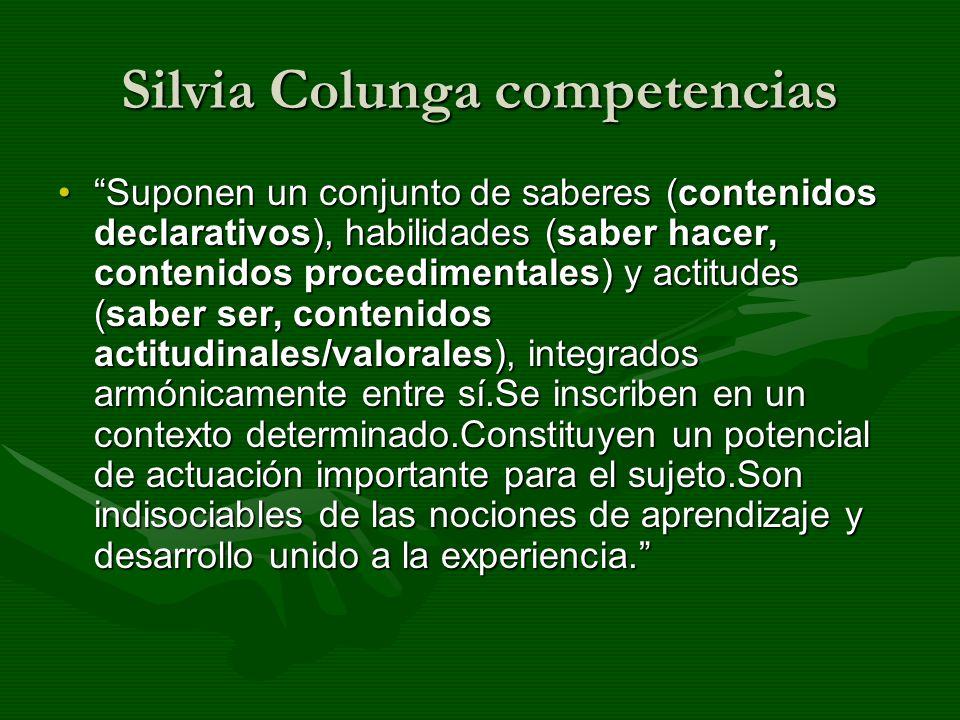 Silvia Colunga competencias Suponen un conjunto de saberes (contenidos declarativos), habilidades (saber hacer, contenidos procedimentales) y actitude