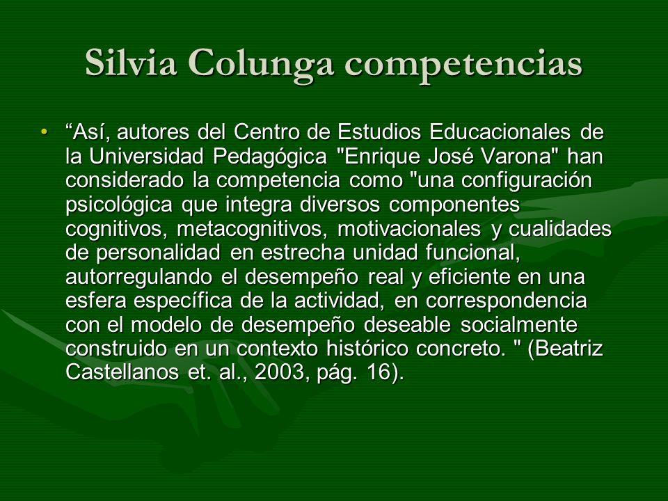 Silvia Colunga competencias Así, autores del Centro de Estudios Educacionales de la Universidad Pedagógica